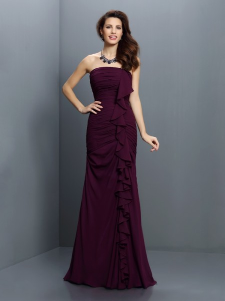Trumpet/Mermaid Strapless Sleeveless Sweep/Brush Train Chiffon Bridesmaid Dresses with Pleats