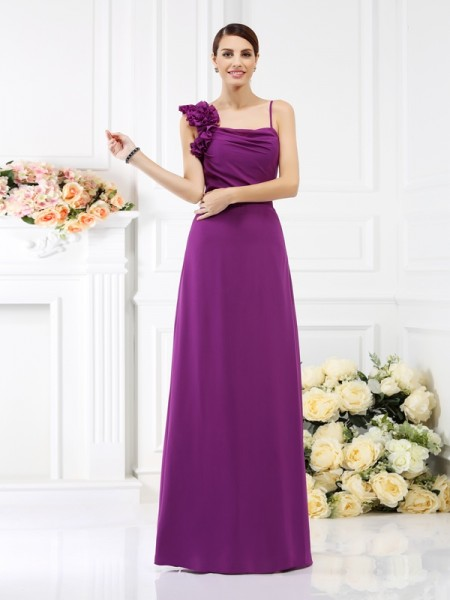 Sheath/Column Spaghetti Straps Sleeveless Floor-Length Chiffon Bridesmaid Dresses with Hand-Made Flower