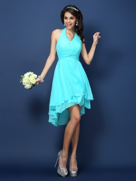 A-Line/Princess Halter Sleeveless Short/Mini Chiffon Bridesmaid Dresses with Pleats