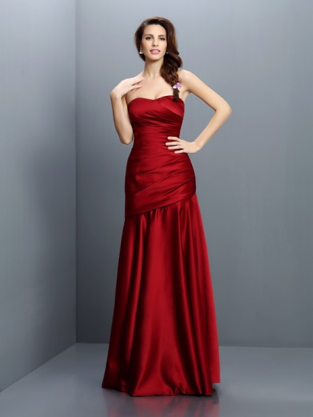 A-Line/Princess Strapless Sleeveless Floor-Length Satin Bridesmaid Dresses with Ruched