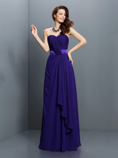 A-Line/Princess Sweetheart Sleeveless Floor-Length Chiffon Bridesmaid Dresses with Pleats