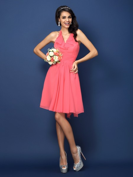 A-Line/Princess Halter Sleeveless Bowknot Short/Mini Chiffon Bridesmaid Dresses with Pleats