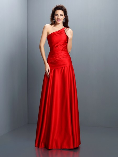 A-Line/Princess One-Shoulder Sleeveless Floor-Length Satin Evening/Formal Dresses with Pleats