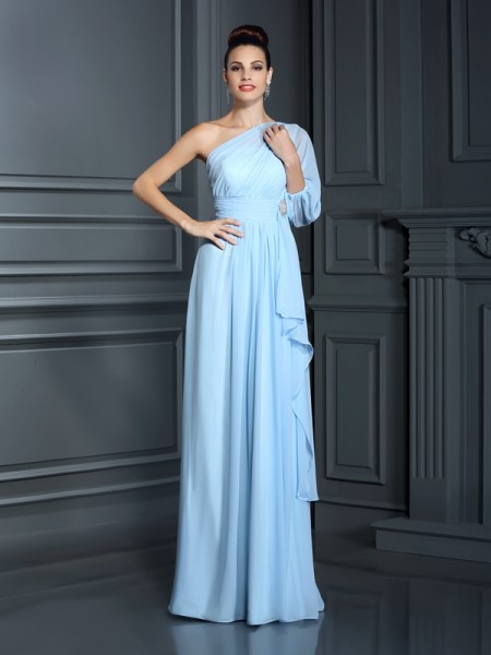 Sheath/Column One-Shoulder 3/4 Sleeves Floor-Length Chiffon Dresses