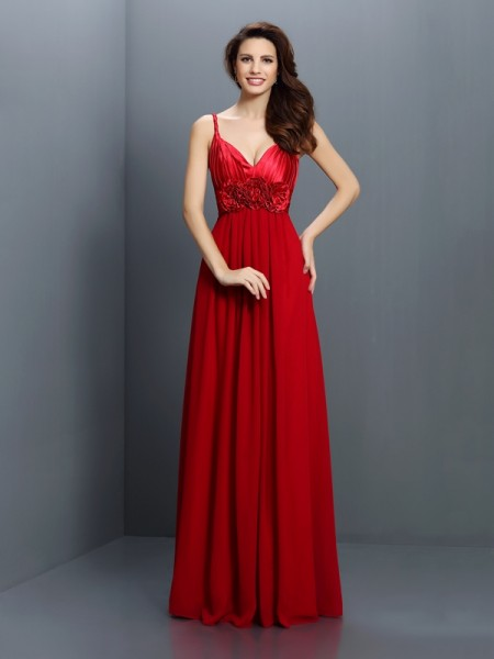A-Line/Princess V-neck Spaghetti Straps Sleeveless Floor-Length Chiffon Bridesmaid Dresses with Hand-Made Flower