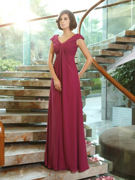 A-Line/Princess V-neck Sleeveless Chiffon Long Dresses