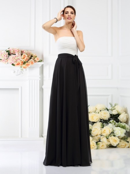 Strapless Sleeveless Chiffon Long Bridesmaid Dresses with Sash/Ribbon/Belt