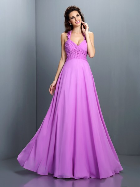 A-Line Halter Chiffon Long Bridesmaid Dresses with Pleats