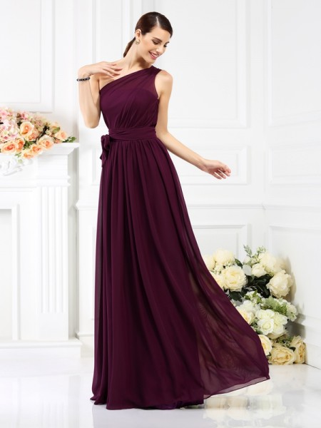 A-Line/Princess One-Shoulder Sleeveless Floor-Length Chiffon Bridesmaid Dresses with Sash/Ribbon/Belt