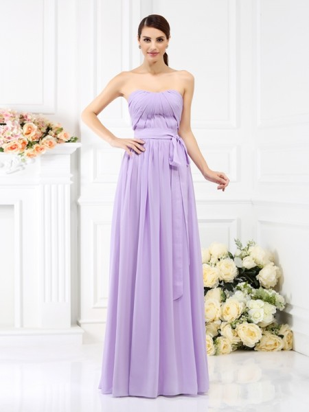A-Line/Princess Strapless Sleeveless Floor-Length Chiffon Bridesmaid Dresses with Sash/Ribbon/Belt