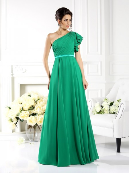 A-Line/Princess One-Shoulder Sleeveless Floor-Length Chiffon Dresses with Ruffles