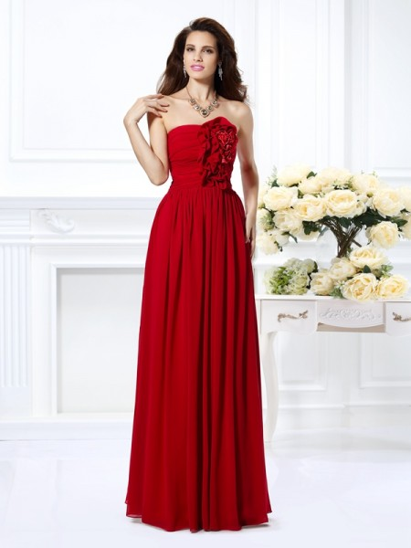 A-Line/Princess Strapless Sleeveless Floor-Length Chiffon Dresses with Hand-Made Flower