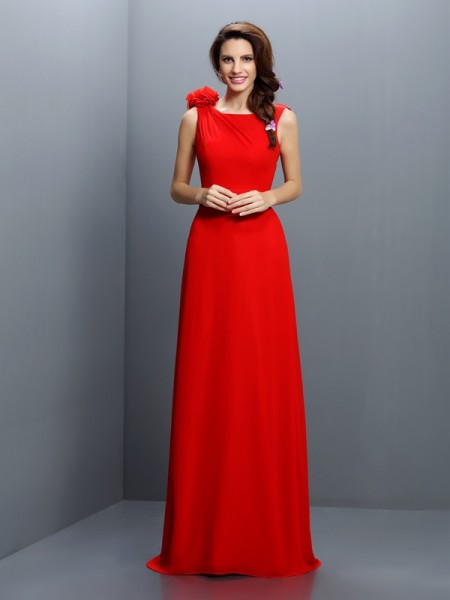 A-Line/Princess Bateau Sleeveless Sweep/Brush Train Chiffon Bridesmaid Dresses with Hand-Made Flower