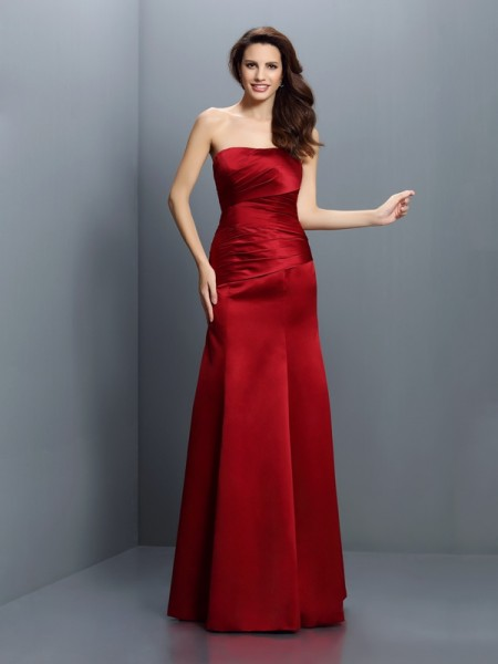 Sheath/Column Strapless Sleeveless Floor-Length Satin Bridesmaid Dresses with Pleats