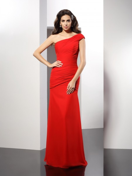 Sheath/Column One-Shoulder Sleeveless Floor-Length Chiffon Evening/Formal Dresses with Pleats