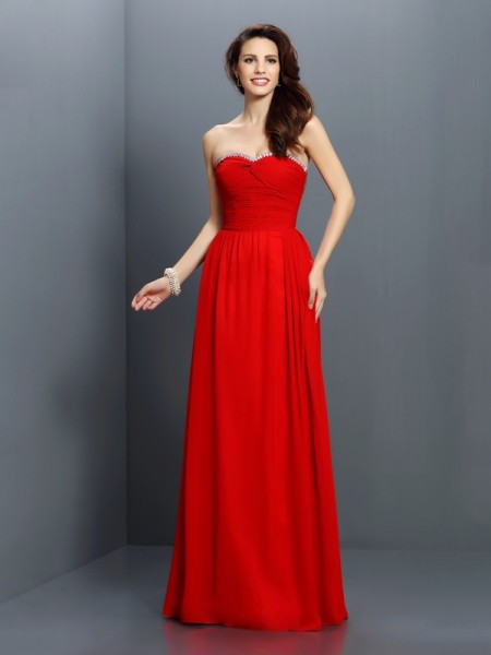 A-Line/Princess Sweetheart Sleeveless Floor-Length Chiffon Bridesmaid Dresses with Beading