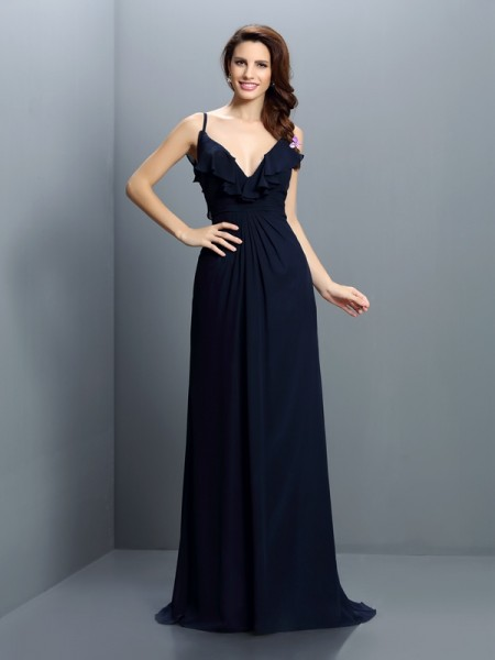A-Line/Princess Spaghetti Straps Sleeveless Sweep/Brush Train Chiffon Bridesmaid Dresses with Pleats
