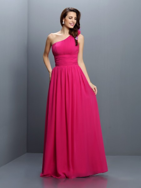 One-Shoulder Sleeveless Floor-Length Chiffon Long Bridesmaid Dresses with Pleats
