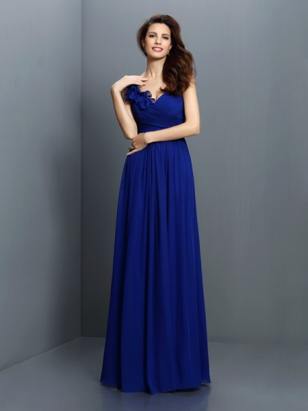 A-Line/Princess V-neck Sleeveless Floor-Length Chiffon Bridesmaid Dresses with Pleats