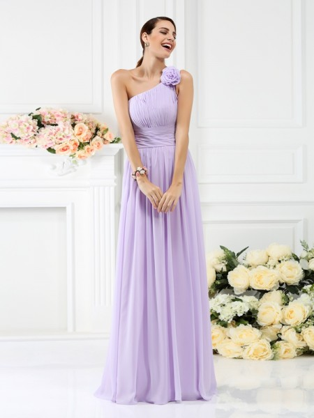 A-Line/Princess One-Shoulder Sleeveless  Floor-Length Chiffon Bridesmaid Dresses with Hand-Made Flower Pleats