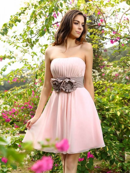 A-Line/Princess Sweetheart Sleeveless Chiffon Short/Mini Bridesmaid Dresses with Sash/Ribbon/Belt