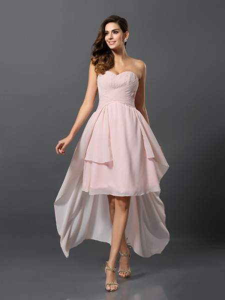 A-Line/Princess Sweetheart Sleeveless Chiffon Asymmetrical Bridesmaid Dresses with Pleats