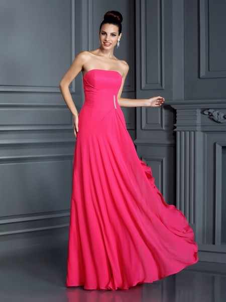 A-Line Strapless Long Chiffon Dresses with Beading