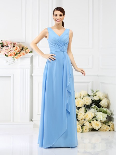 Sheath/Column V-neck Sleeveless Floor-Length Chiffon Bridesmaid Dresses with Beading