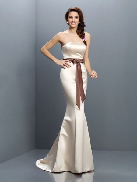 Trumpet/Mermaid Strapless Sleeveless Sweep/Brush Train Satin Bridesmaid Dresses with Sash/Ribbon/Belt