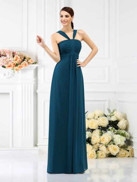 A-Line/Princess Straps Sleeveless Floor-Length Chiffon Bridesmaid Dresses with Pleats