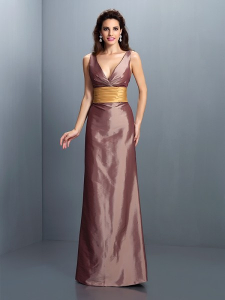 Sheath/Column V-neck Sleeveless Floor-Length Taffeta Evening Dresses with Pleats