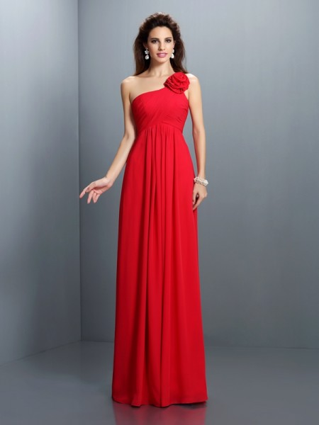 A-Line/Princess One-Shoulder Sleeveless  Floor-Length Chiffon Dresses with Hand-Made Flower Pleats