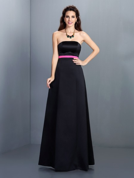 A-Line/Princess Strapless Sleeveless Floor-Length Satin Dresses