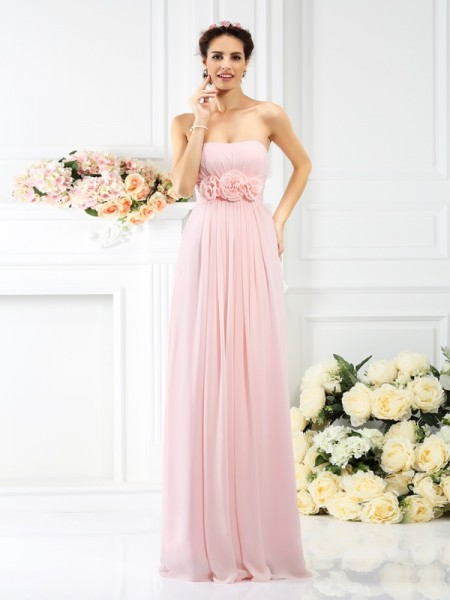 A-Line/Princess Strapless Sleeveless Floor-Length Chiffon Bridesmaid Dresses with Hand-Made Flower