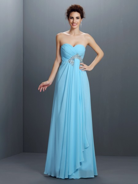 A-Line/Princess Sweetheart Sleeveless Floor-Length Chiffon Prom Dresses with Beaded