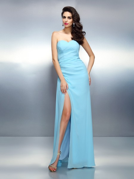 A-Line/Princess Sweetheart Sleeveless Floor-Length Chiffon Prom Dresses with Pleats