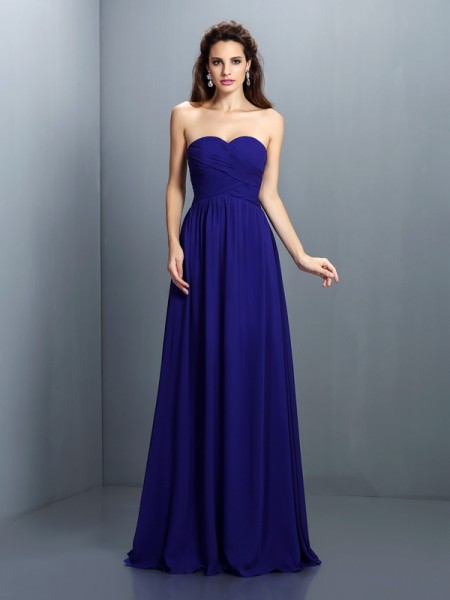 A-Line/Princess Sweetheart Long Chiffon Dresses with Pleats