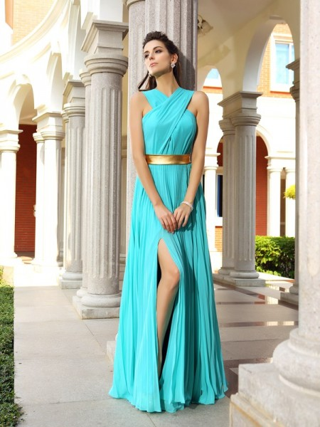 A-Line/Princess Chiffon Sleeveless Long Prom/Evening Dresses with Pleats