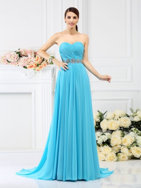 A-Line/Princess Sweetheart Sleeveless Sweep/Brush Train Chiffon Bridesmaid Dresses with Pleats Beading