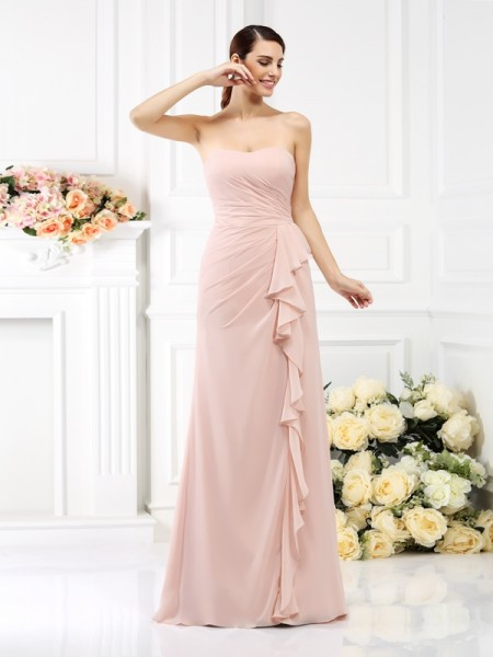 Strapless Sleeveless Floor-Length Chiffon Bridesmaid Dresses with Pleats