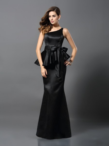 Trumpet/Mermaid One-Shoulder Sleeveless Floor-Length Satin Bowknot Evening Dresses