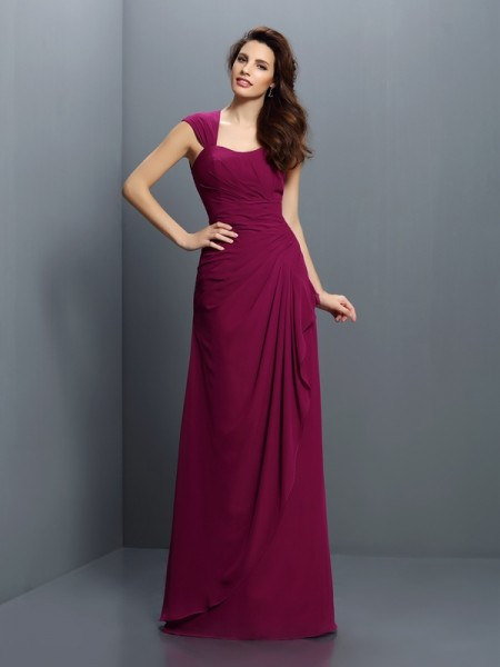 A-Line/Princess Straps Chiffon Long Bridesmaid Dresses with Pleats