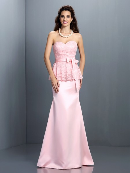 Mermaid Sweetheart Sleeveless Lace Floor-Length Satin Dresses