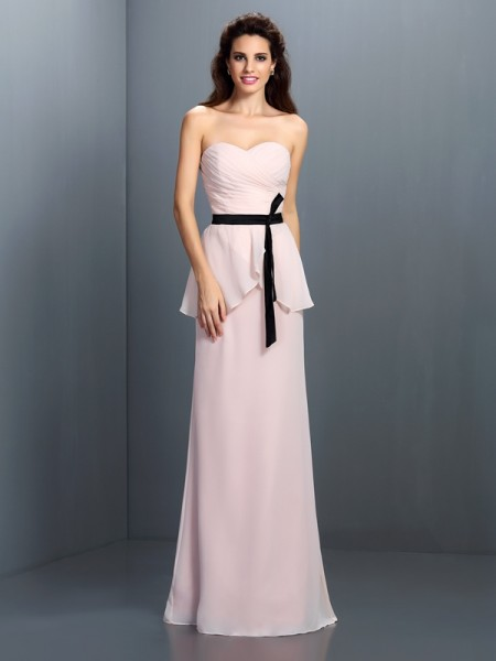 Sheath/Column Sweetheart Sleeveless Floor-Length Chiffon Dresses with Sash/Ribbon/Belt
