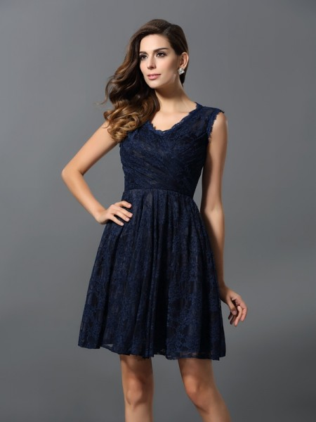 A-Line/Princess V-neck Sleeveless Lace Satin Short/Mini Bridesmaid Dresses