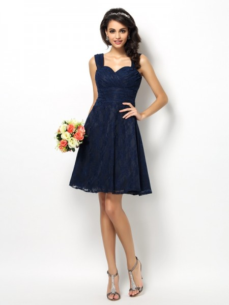 A-Line/Princess Straps Sleeveless Lace Short/Mini Satin Bridesmaid Dresses