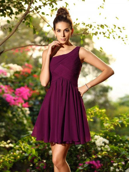 A-Line/Princess Sleeveless Chiffon One-Shoulder Short/Mini Bridesmaid Dresses with Pleats