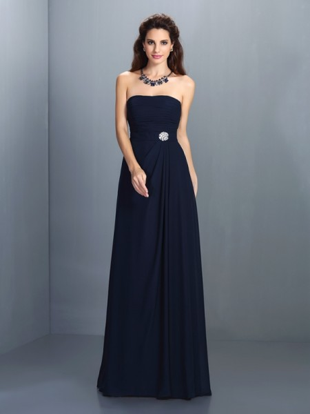 A-Line/Princess Strapless Sleeveless Floor-Length Chiffon Dresses with Rhinestone