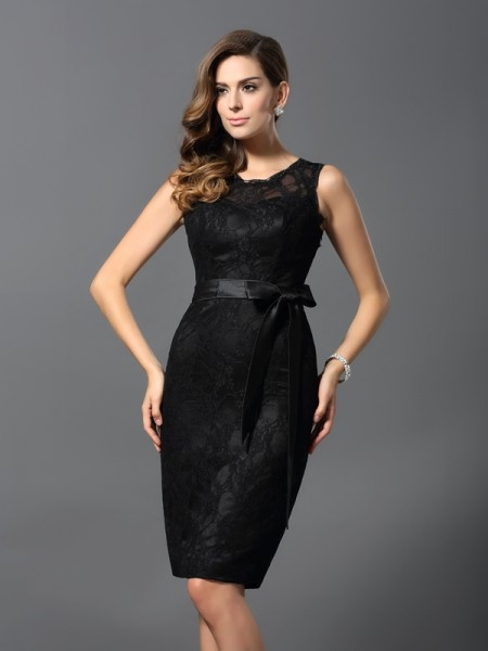 Sheath/Column Sleeveless Jewel Satin Lace Knee-Length Dresses