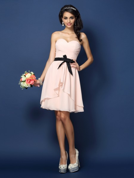 A-Line/Princess Sweetheart Sleeveless Short/Mini Chiffon Bridesmaid Dresses with Sash/Ribbon/Belt